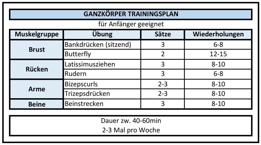 Kraftstation Trainingsplan Ganzkörperplan Anfänger